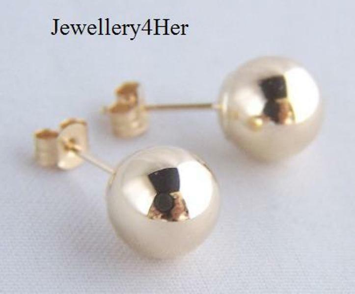 9ct gold 10mm Large Plain Round Bead Ball Studs Sleeper Earrings B'day Gift BOX