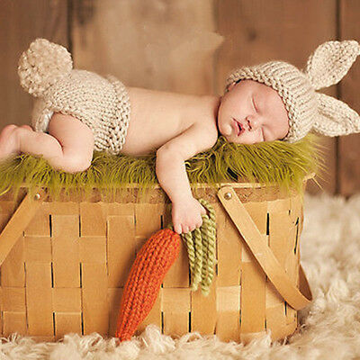 Newborn Baby Boy Girl Lovely Crochet Knit Costume Photo Photography Prop Outfits