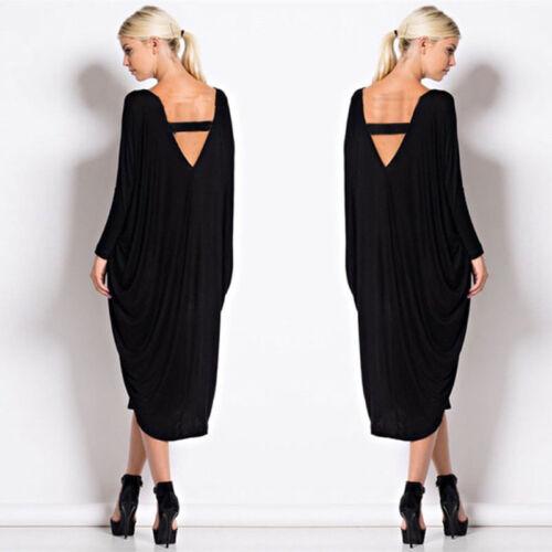 Ladies Baggy Coktail Dress Women Oversized Baggy Backless Maternity Midi Dress