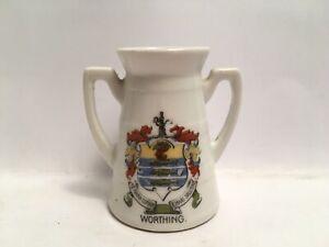 Vintage-Crested-China-Worthing-Twin-Handled-Vase
