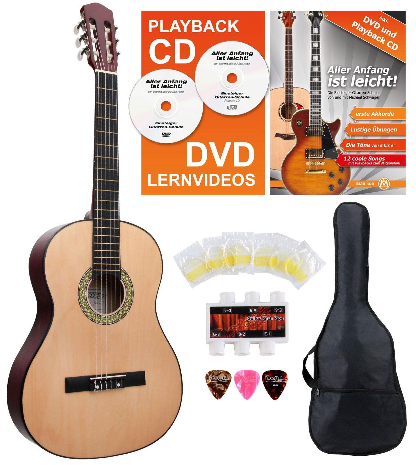 Super Konzertgitarren Set 7 8 inkl. Saiten Plecs Tasche und Schule für Anfänger