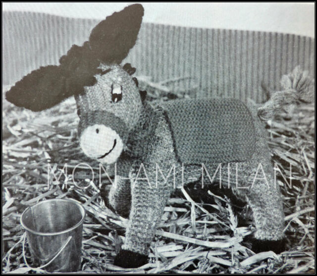 d327f9e94ae Vintage Knitting Pattern •  Knitted Ned  Little Donkey • Soft Cuddly Toy •  DK