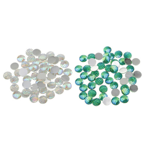 100pcs 12mm Mermaid Fish Scale Skin Cabochons Craft Beads Charms Decorations