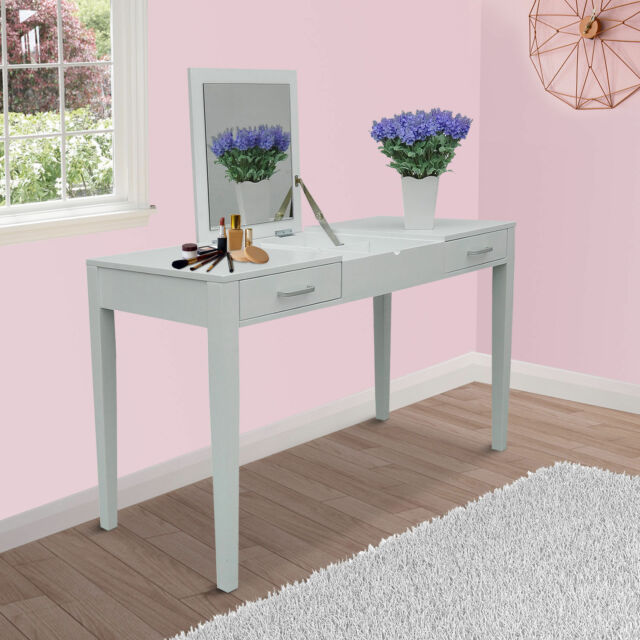 Dressing Table Makeup Desk W Foldable Vanity Mirror 2 Drawers Storage White New
