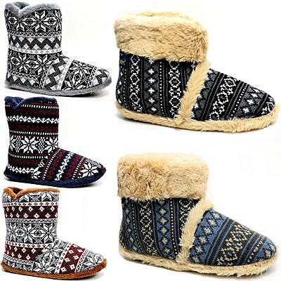 Hommes Pantoufles Dunlop Cheville Polaire Fourrure Doublure Chaude Fairisle Bottes D'Hiver Chaussures | eBay