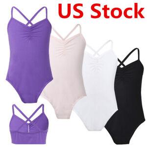 US Girls Kids Ballet Camisole Dance Leotard Gymnastics Dancewear Nude Bodysuit