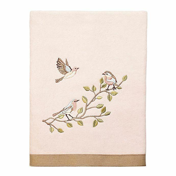 Avanti Bird Choir II Bath Towel Embroidered Pale Pink Guest Bath 27x50