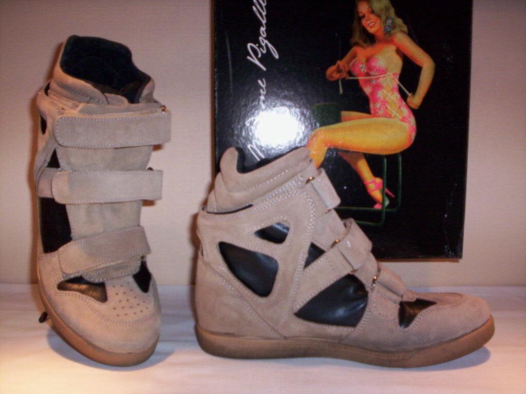 Zapatillas deportivas altos mujer zapatillas de deporte casual cuña piel ante 35