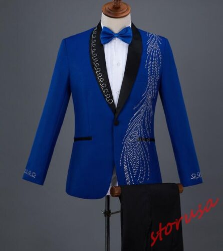 Mens Rhinestone Slim  One Button Blazers Formal Wedding Dress chorus Suits 2PCS
