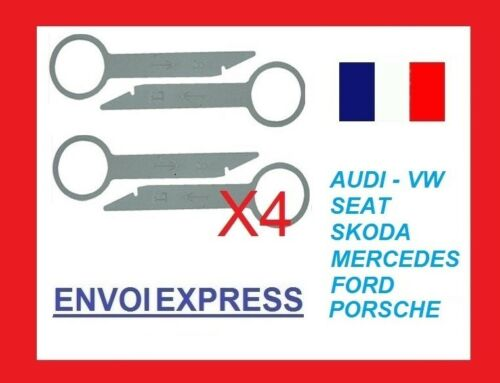 4 clés d/'extraction démontage autoradio VW SEAT AUDI SKODA FORD PEUGEOT CITROEN