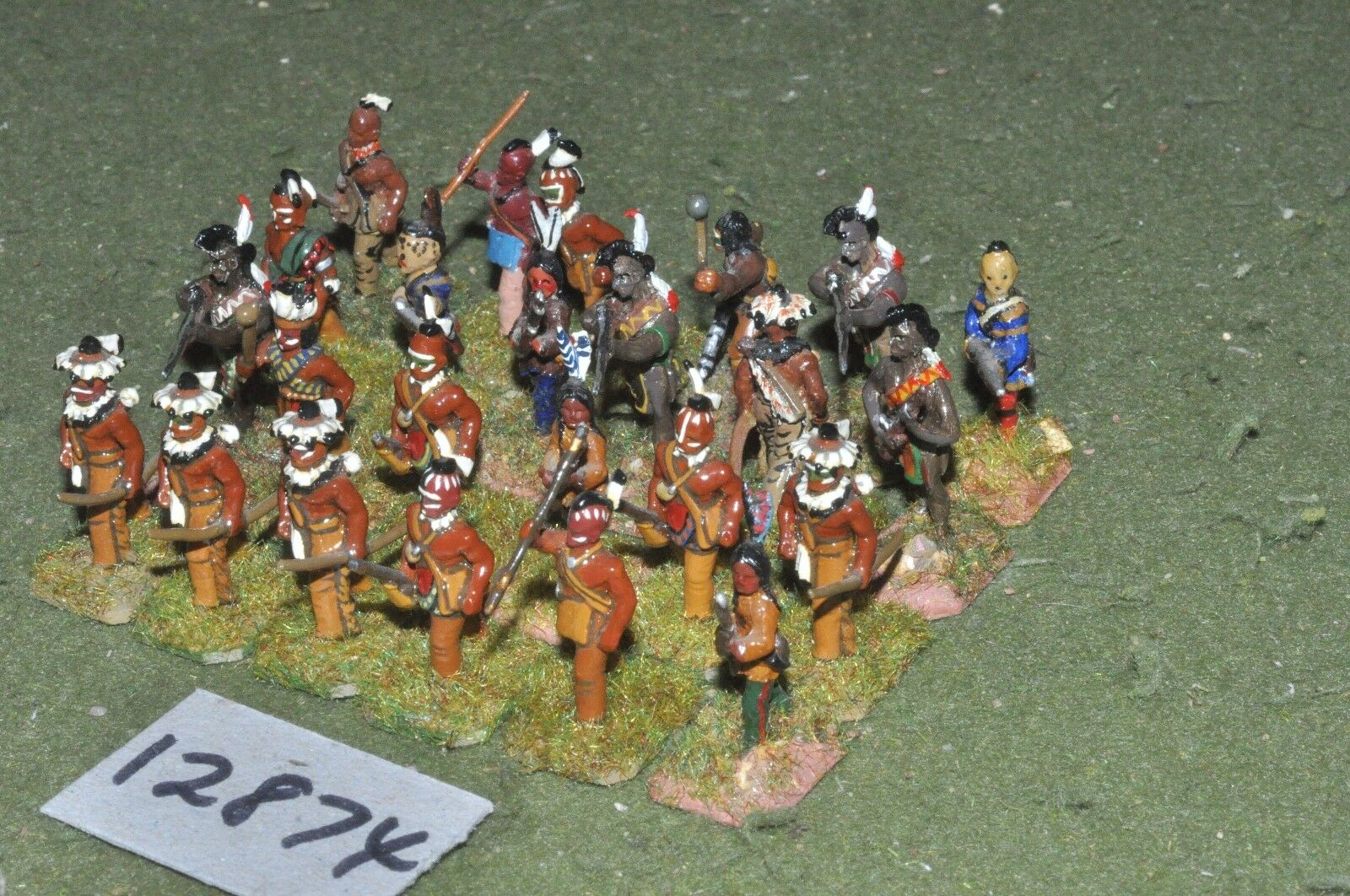 25mm AWI   french - indian wars warriors 24 figs - inf (12874)