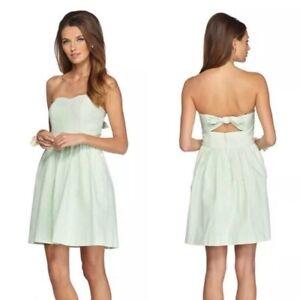 Lilly Pulitzer Womens Green White Striped Strapless Seersucker A Line Dress XS