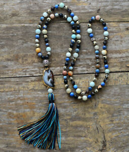 Adjustable Length and Copper Long Hand Knotted Boho Necklace with Plum Druzy Pendant Greens Jasper Beads in Mauves