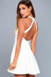 f9a10be6d5 Image is loading Lulus-light-and-grace-white-skater-dress-size-
