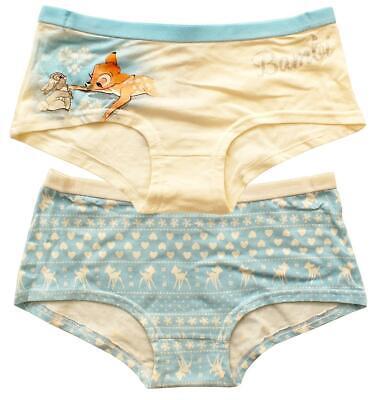 Girls Two Pack Disney Shorties Boxers Underwear Briefs Ex Store Bambi Belle