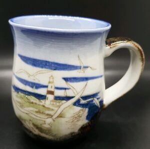 Vtg-Hand-Crafted-Otagiri-Originals-Japan-Lighthouse-Seagulls-Coffee-Mug-Cup