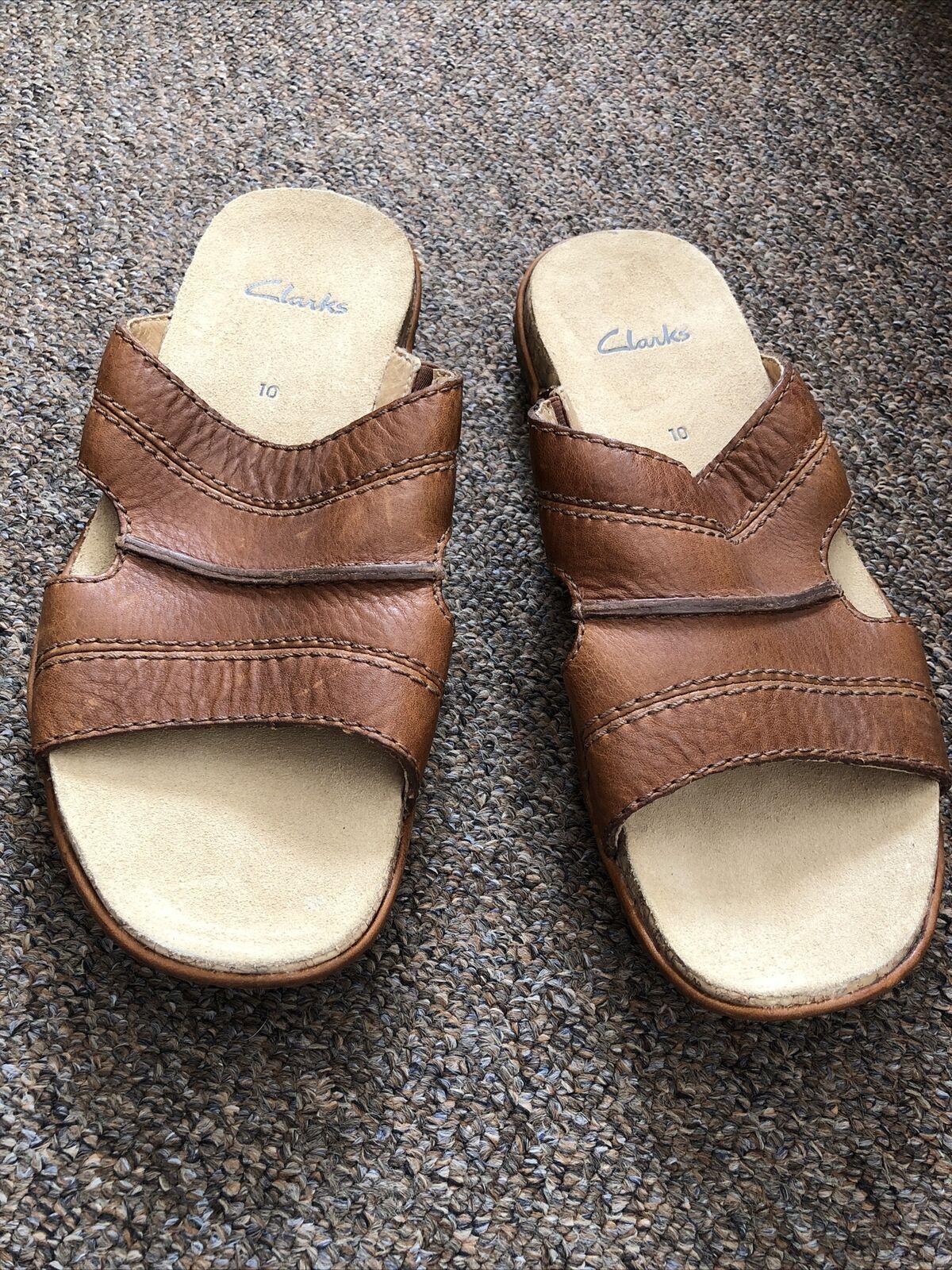 Clarks Mens Leather Sandals Size 10 G Standard Width
