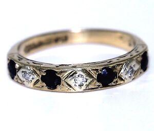 Vintage-Sapphire-amp-Diamond-9ct-Yellow-Gold-Half-Eternity-ring-K-5-1-4