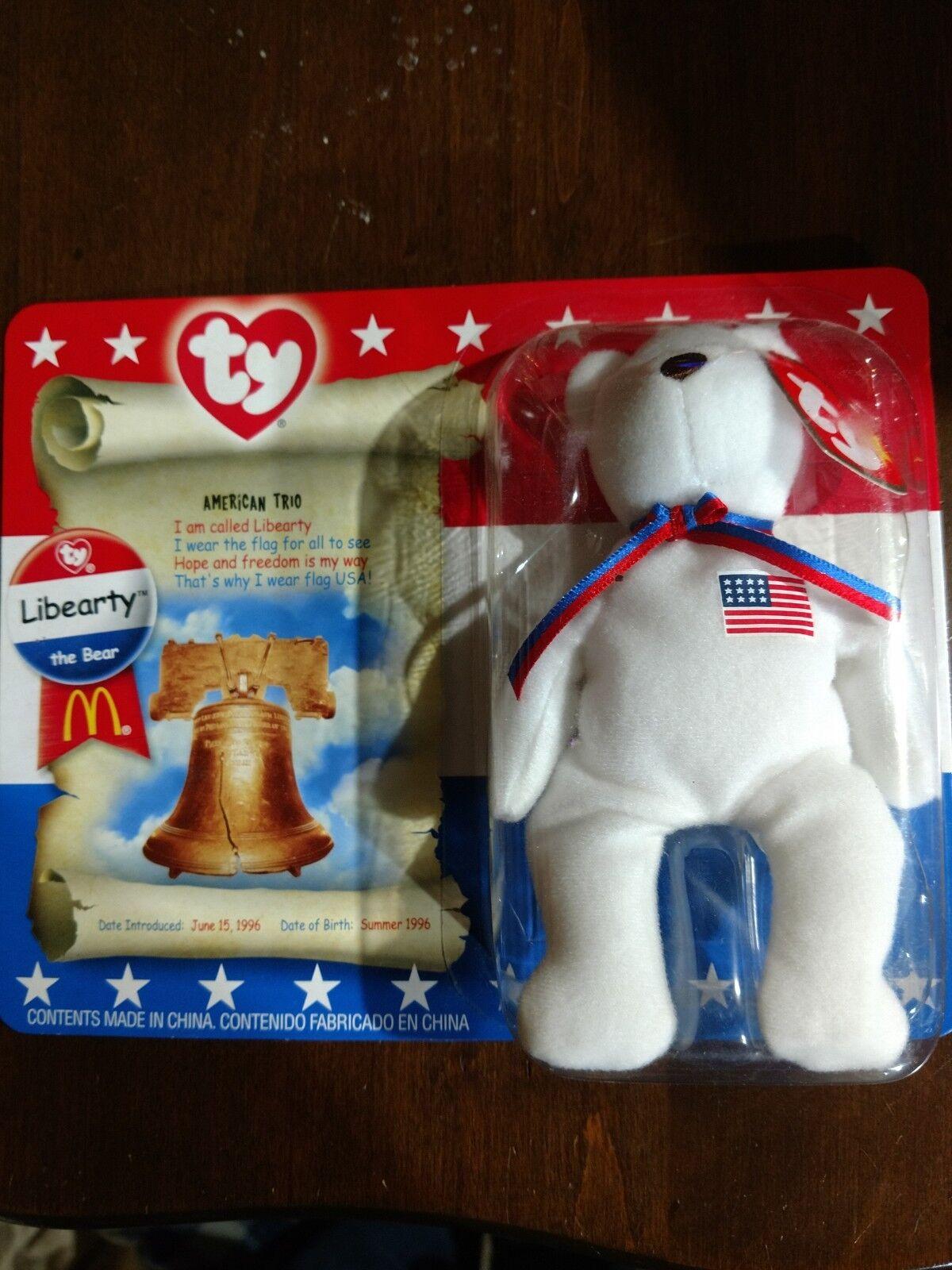 TY McDonald's Beanie Baby   Liberty the Bear   1996 RARE TAG ERRORS