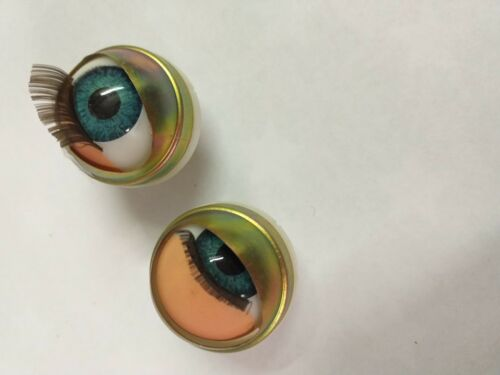 17 mm BLU apertura e chiusura degli occhi a pelo per Teste Vinile con Tasche Occhio