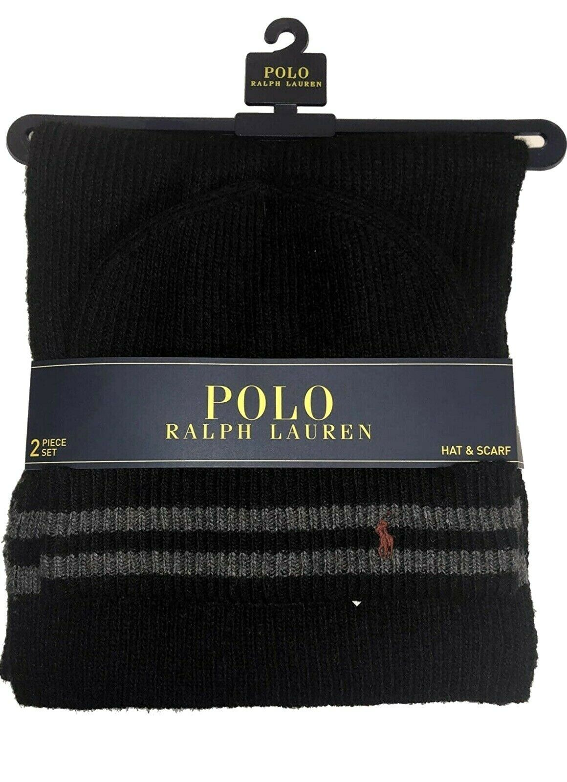 ** New ** Polo Ralph Lauren Authentic Mens Hat Scarf Set 2 Black Gray Red