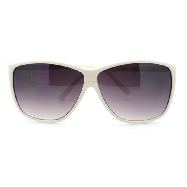 Modern Retro Sunglasses for Men Women Square Plastic Light Frame WHITE
