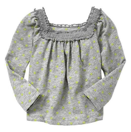 NWT Baby GAP Snow Brights Ruffle Lime /& Gray Swing Tee Top U Pick Size NEW