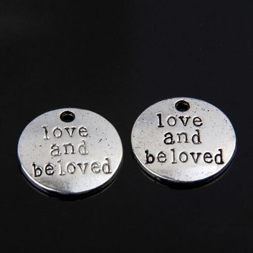 wholesale 12pcs//24pcs//100pcs zinc alloy round believe in love pendants 1A1600