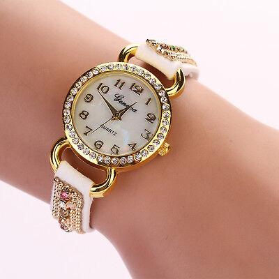Pretty White Women Girl Crystal Faux Suede Leather Bracelet Quartz Wrist Watch