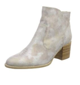Details about Tamaris Women's Grey Leather Ankle Boots Size UK 3.5 EU 36