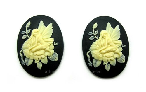 2 IVORY color FAIRY /& LOTUS Flower on BLACK 40mm x 30mm Costume Jewelry CAMEOS