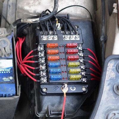6-Fach 12V ATO ATC Blade Sicherungskasten Halter LED Warnleuchten Sicherungsdose