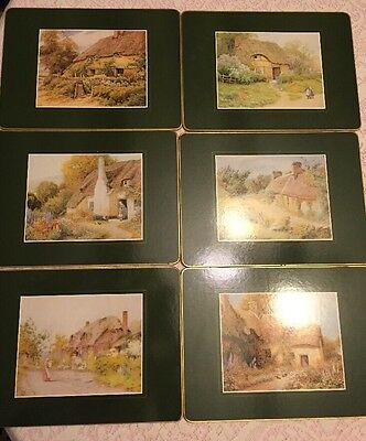 Set of 6 Clover Leaf Table Place Mats Cork Backed Thatched Cottages - Retired