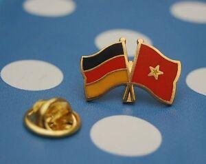 Freundschaftspin-Deutschland-Vietnam-Pin-Button-Badge-Anstecker-Asien
