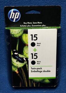 Genuine-HP-15-Black-Ink-Cartridges-Twin-Pack-Printer-Sealed