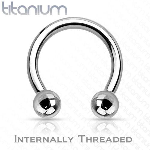 Grade 23 Solid Titanium Internally Threaded Horseshoe Circular Barbell with Ball