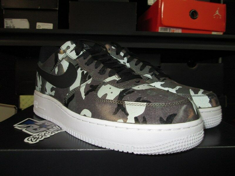 SALE NIKE AIR FORCE 1 LOW LV8 MEDIUM OLIVE CAMO 823511 2018 REFLECTIVE Price reduction Wild casual shoes