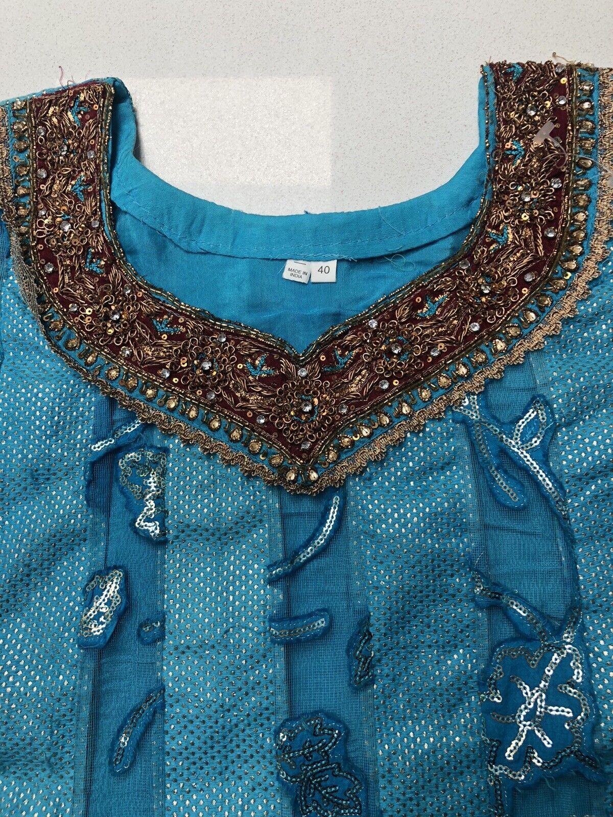 New Women's Girls Asian Embellished Indian Wedding Shirt Dress Kameez Size 8 40