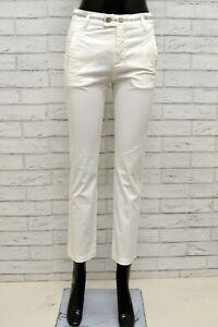 Pantalone-BIKKEMBERGS-Donna-Taglia-40-Jeans-Pants-Woman-Cotone-Bianco-Slim-Fit