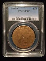 1902 S Liberty Head Gold Double Eagle $20 PCGS FR02 Lowball Registry Set FR2