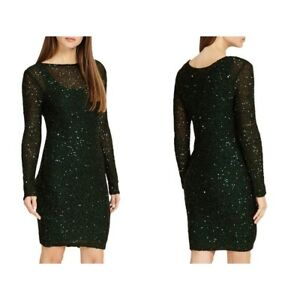 New-Phase-Eight-GREEN-Sequin-Overlay-Dress-Party-Evening-Bodycon-Pencil-6-18