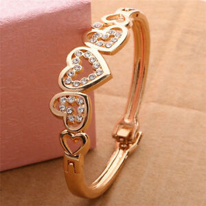 Gold-Plated-Fashion-Women-Lady-Crystal-Cuff-Bangle-Love-Heart-Charm-Bracelet