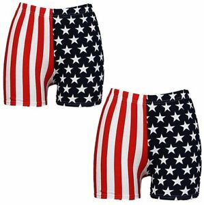 2768a2d3da69 Ladies USA Flag Star Stripe Print Hot Pants Womens American Flag ...