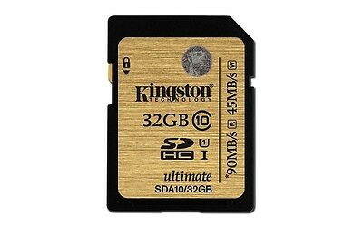 KINGSTON ULTIMATE SD HC SDHC UHS-1 U1 CLASS 10 32GB 32G 32 G GB MEMORY CARD NEW
