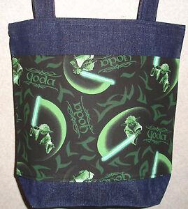NEW Medium Denim Tote Bag Handmade//w Star Wars Navy Fabric