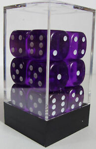 PACK OF 12 PURPLE GEM DICE - 6 SIDED & 15mm SIDES !!