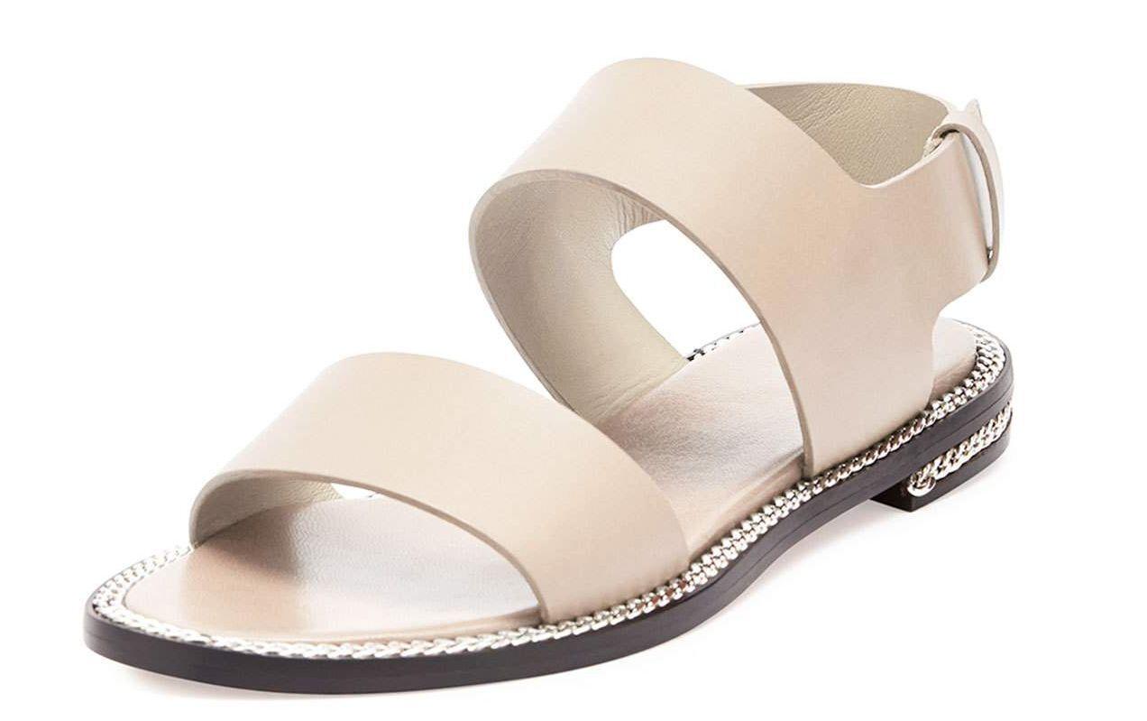 Givenchy 7120 Beige cadena Envuelto Cuero Sandalia talla