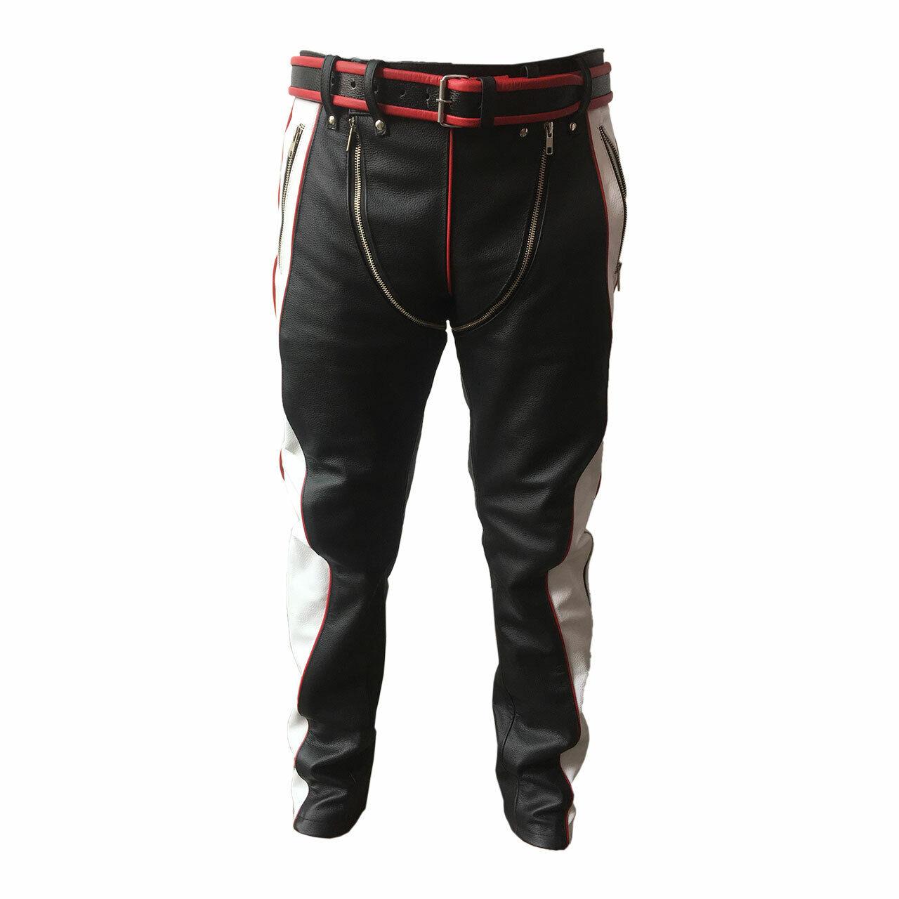 Para Hombre Bondage Pantalones Negro Rojo  Y blancoo De Cuero Heavy Duty Jeans  increíbles descuentos