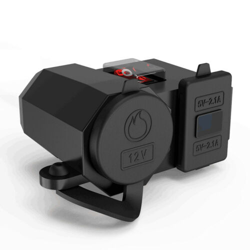 Motorcycle GPS Phone Dual USB Power Socket Charger LED Voltage Voltmeter+Switch