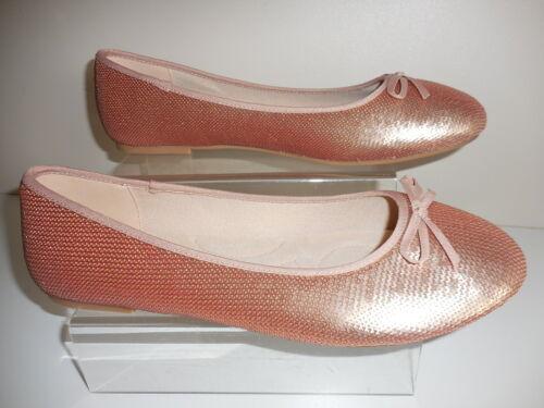 EEE Plat Rose Paillettes Ballerine Chaussures Taille UK 6 wide fit BNWT de Evans